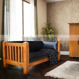 Teak Bench Natural Primitive with Leather Cushion