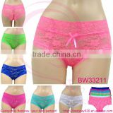 Hot sell very sexy hot transparent soft lace underwear cheap price 3 US sizes for wholesale from Guangzhou Bestway Underwear