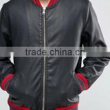 Mens Black Leather Bomber Jacket With Contrast Rib In Black
