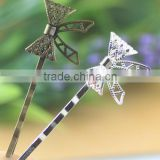 Silver Antique Bronze Filigree Bow Hair Clasp Bobby Pins