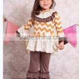 Halloween fashion chevron fabric wholesale baby girl chevron summer top and pants sets matching clothing ruffles outfits sets