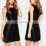 Alibaba High Quality Ruffled Top Sleeveless Sexy Black Tight Mini Leather Dress