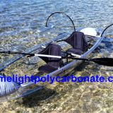 Clear polycarbonate kayak with outrigger balance system, transparent kayak, clear kayak, transparent canoe, clear canoe