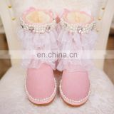 Aidocrystal women pink big size models shoes sweet bling pearls net yarn ankle boots with bowknot for girls