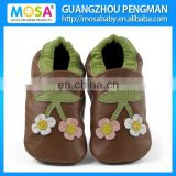 Children Genuine Leather Soft Sole Shoes Brown Color With Flowers Pattern Size 0-4 Years
