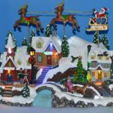 Resin Christmas Decoration 13''Led village scene with flying reindeer, eight songs music