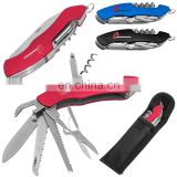 stainless steel multi tool knife with locking knife,can opener,screwdriver,scissors,needle,