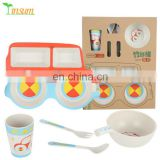 ECO Friendly BPA Free Kid Dinnerware Sets Bamboo Fibre Tableware