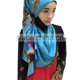 popular new arrival islamic rectangle scarf Chinese painting's muslim long scarf Adult arab HIJAB