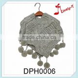 Wholesale lovely T fashion knitted winter girls shawl scarf poncho sweater with ball of string