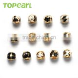 Topearl Jewelry Assorted Fashion Stainless Steel European Charm Bead Black White Gold TCP10