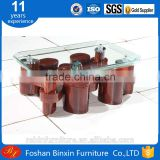Living room furniture RB-527 new rectangular bend glass coffee table transparent bend glass tea table with small pu stool