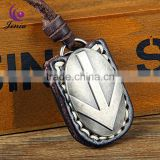 Jenia High Quality Genuine Leather Necklace With Zinc Alloy Antique Sliver Rudder Pendant