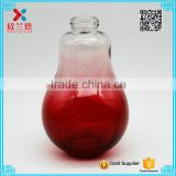 Fashionable rose red color lamp bulb glass beverage/ juice bottle 200ml