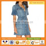 Customized Design Women Apparel Trucker Long Shirt Dresses                                                                         Quality Choice