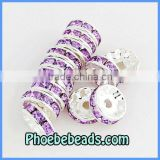 Wholesale 10mm Crystal Spacers Beads Glittering Lavender Rhinestone Metal Findings For Basketball Wives Earring Making RRS-A002B