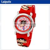 EN71 CE RoHs Water Resistant Childrens Day Gift Watch Japan Movt Rubber Silicone Monkey Children Hand Watch