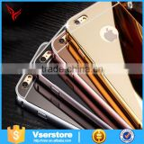 2016 New Gold plated metal Aluminum Bumper phone case For iPhone 6plus makeup Case with lighted mirror