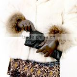 Best quality fashion dress ethiopian ladys fox fur gloves