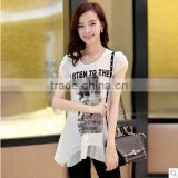 Casual Dress Clothing Woman Apparel Short Sleeve White Showing Temperament Chiffon Shirt