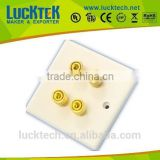 4 Binding Posts White Plastic Speaker Wall Plate