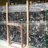 China stnoe Portoro silver dragon black marble cross cut slabs, black marble tile with white veins