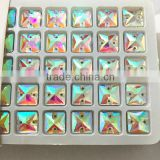 fancy super shine 10x10mm square shaped sew on stone with double hole for wedding dress