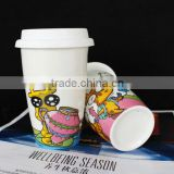 wholesale ceramic travel coffee mugs, double wall cup with cap