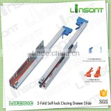 High quality 2-fold undermount self locking slide rails track furniture accessories drawer slides