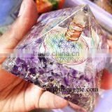 Orgone Amethyst Flower of Life Chakra Pyramid With Charge Crystal Point | Orgonite for sale