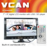 VCAN0951 9 inch bus lcd ad monitors with USB SD mp5 player Bulitin Analog TV