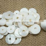 Single One Hole Natural White River Shell Bead Button as Accessory