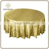 "120"" Round Champagne Pintuck Tablecloths"