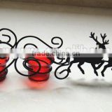 Reindeer Sleigh design standing metal and glass Candle Holder