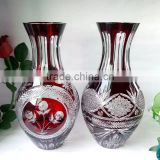 JingYaGe Fashionable Colored Glass Flower Sculptural Crystal Vase Decorative Flower Glass Vase