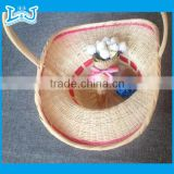 Wholesale handmade basket round water hyacinth basket with handle