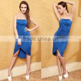 2015 latest women sexy blue sleeveless strapless wrap dress