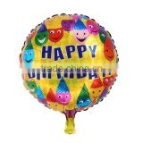 "Aluminium Foil Balloons Party Decoration Round Multicolor Smile Face Message ""Happy Birthday"" Pattern"