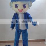 blue cloth young boy mascot costume for adults