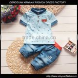 Kids Baby Korean Clothing Wholesale 2pcs Toddler Outfits Shirt + Denim Shorts New Design Boys Clothing Children