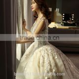 Hot Sale Boat Neck Sleeveless Floor-length Floral Ruffled Organza Wedding Dress TS26