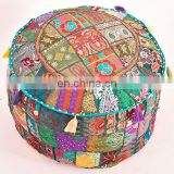 Vintage Old Handmade Ottoman Sitting Cotton Embroidery Pouf