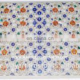 White Marble Pietra Dura Coffee Table Top