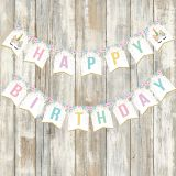 BA099 Unicorn Theme Party DIY Garland flags glitter Happy birthday letter Unicorn Party banner