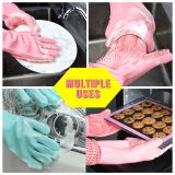 2019 hot selling silicone brush scrubber gloves heat resistant for dish wash whatsapp: +8615992856971