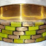 Lime Green Bone Chips Designer Bangle With Brass Frame For Women , Fancy Women Bangle 11838