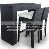 Outdoor Aluminum Frame Rattan Wicker Bar Table and Chairs