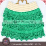 Factory price custom net designs scalloped French beautiful green hot girls short skirt                                                                                                         Supplier's Choice