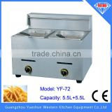 Factory direct selling double basket lpg gas deep fryer