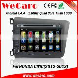 "Wecaro android 4.4.4 car gps navigation system China Factory 8"" for honda civic car dvd player mirror link 2012 2013"